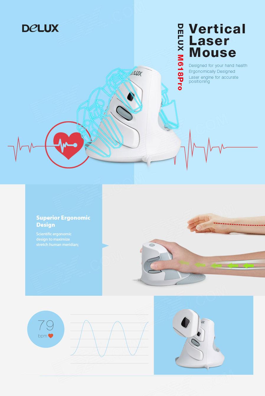 32127 Delux Pro Ergonomische gaming muis 2000dpi + hartslagmeter + polssteun 1