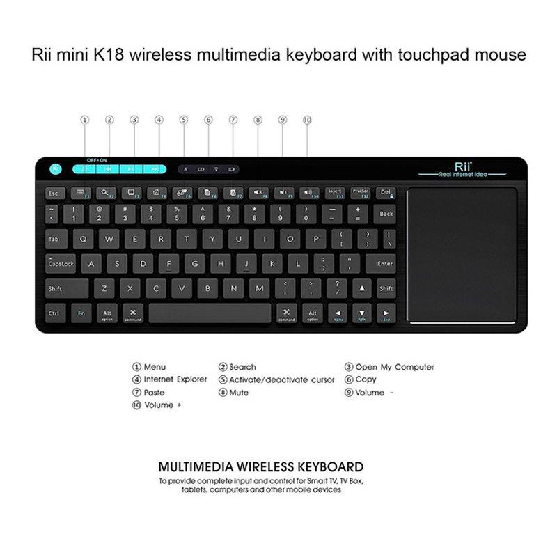 Rii K18 Compact Toetsenbord + Touchpad